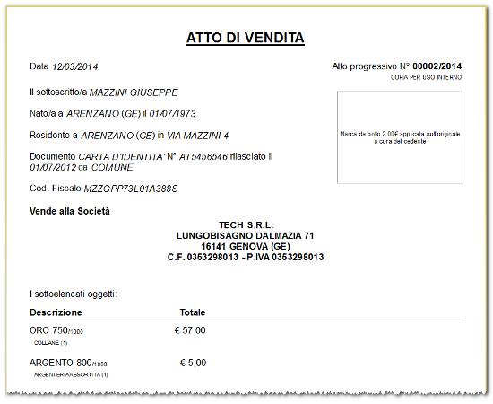 Stampa atto di vendita - Software compro oro